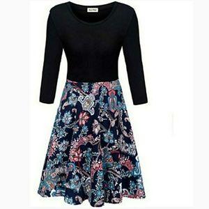 🆕Black design Color block dress